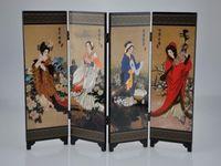 Оптом дешевые восточные китайский золотой лак с раскладной комнаты разделителя комнаты четыре большие красавицы