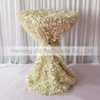 1 pezzo di tovaglia di taffettà di forma di foglia di crema arruffata 3D 132 '' rotondo per 80CM Decorazione di copertura di cocktail