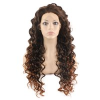 Lange Curly Auburn Tip Brown Two Tone Ombre Spitze-Front-Perücke