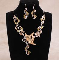 Em estoque 6 cores brilhando strass flores borboleta nupcial colar de dama de honra e brincos festa de casamento barato conjunto de jóias