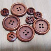 10/11 / 12.5 / 15/18/20/23 / 25mm Botones de madera para pantalones Traje ropa de abrigo hecho a mano Caja de regalo Craft DIY scrapbook favor Coser