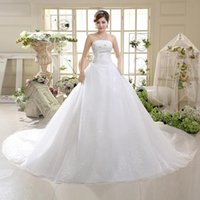 2018 New Bridal Wedding Gowns Ball Gown Long Train Strapless...