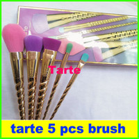 makeup brushes sets cosmetics brush 5 bright color rose gold...