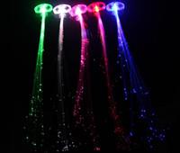 Colorido flash trenza de pelo Luminous LED Hairwear tocado del festival de la farsa Props Light Up fibra óptica pelo coleta regalo de Navidad