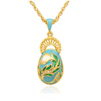 Elegant Peacock Tail Faberge Egg Charm hand color enamel Rus...