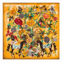 Foulard d'impression en soie vintage Foulard de mode foulard femmes dames de qualité supérieure silencieux long en mousseline de soie fleur et maison Bandanna Wrap châle