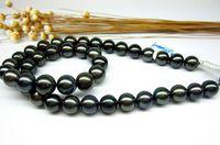 Elegante collana di perle nere tahitiane da 10-11mm con chiusura in oro 14 kt