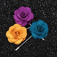 La mejor venta sola flor hombre mujer camelia hechos a mano Boutonniere broche pin accesorios de los hombres en 22 colores