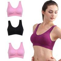 Groothandel-vrouwen naadloze sport gevoerde beha tops ondergoed vrijetijdsbesteding Crop Top Vest S-3XL gratis verzending