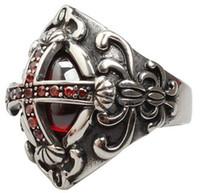 оптового готического крест рубин группы кольцо S925 Обручального Anniversary Рождественского подарок титановой леди золото JP RU Dimond Tungste женщины Париж EUR Pt