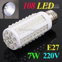 Ultra Parlak LED Ampul 7 W E27 220 V Soğuk Beyaz Işık LED Lamba ile 108 LED Spot Işık 360 Derece Mısır Lambası Ücretsiz Nakliye Toptan