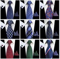 Cravates classiques pour hommes ensembles 51 Design 100% soie Cravates bouton de manchette mouchoir 8cm cravate à carreaux Cravates pour hommes Formal Business Wedding Party Gravatas