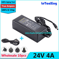 10 adet AC DC Güç Kaynağı 24 V 4A Adaptörü Için 72 W Trafo 5050 3528 LED Sert Şerit Ile LCD Monitör + Kordon Kablo IC çip