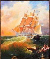 Framed OLD WARSHIP FRIGATE IN STORM SEA, Free Shipping, Pure H...