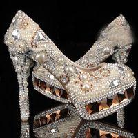 Blanco Cristal de marfil y perla de punta redonda zapatos de boda nupcial de diamante de tacón alto zapatos de vestir de las mujeres zapatos de fiesta de señora de moda magnífica