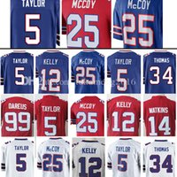 Hommes 5 Tyrod Taylor 25 LeSean McCoy Jersey 12 Jim Kelly 14 Sammy Watkins 34 Thurman Thomas 99 Marcell Dareus Maillots 100% cousus