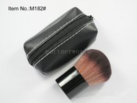 Rough Brush Beauty Kabuki Make-up Cosmestic Große Gesicht Mineral Powder Foundation Rouge Pinsel mit Ledertasche