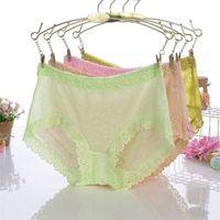 # 324 Venta al por mayor 5pcs sexy lace ladies underwear jacquard de cintura alta malla transparente gasa bragas de las mujeres ropa interior