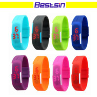 Fashion Sport LED Watches men Candy Color Silicone Rubber To...