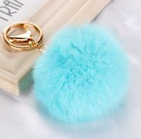 2017 Real Rabbit Fur Ball Keychain Soft Fur Ball Lovely Gold...