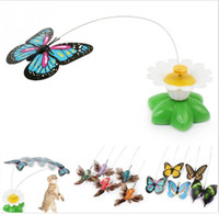 Electric butterfly flying around the flower pet cat toys Cat...