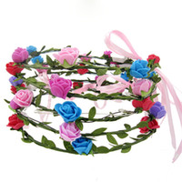 LED parpadeante Rose Flower Festival diadema velo boda Light-Up Floral Garland Hairband hija mejor regalo