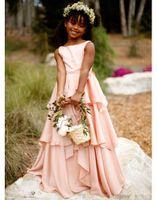 2021 Bella Blush Rosa Flower Girl Abiti Abiti Chiffon Girls Pageant Gown Comunione per il partito formale di nozze QC94