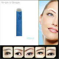 18 Pin U Shape Tattoo Needles Permanent Makeup Eyebrow Embro...