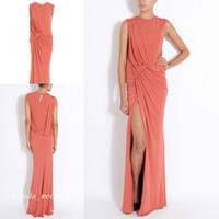 Casual Coral Color Prom Dress Beautiful High Side Slit Long Mujeres Vestido para ocasiones especiales Vestido de fiesta de noche
