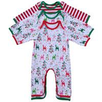 Infant Christmas Pyjamas Strampler Säugling personalisierte Frühling Herbst Strampler Baby Mädchen junge Hirsch Weihnachtsbaum drucken Kleid 4styles 6size