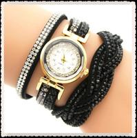 Multilayer Quartz Wrap Strap En Cuir Infinity Bracelet Bracelet Strass Diamant Femmes Femmes Filles Dames Montre Montres Livraison Gratuite