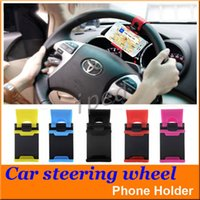 Carro Universal Streeling Steering Wheel Cradle Holder Clipe Inteligente Car Bicicleta montar para o iphone móvel samsung telefone gps + caixa de varejo barato 200 pcs