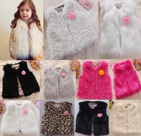 2016 autumn winter Kids sleeveless faux fur vest girls winte...
