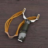 강력한 슬링 샷 알루미늄 합금 새총 위장 활 투석기 휴대용 야외 사냥 새총