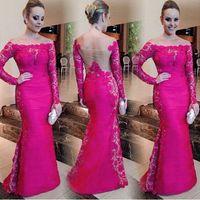2021 Новейший Mermaid плюс размер Дешевые Длинные рукава кружевные платья выпускного вечера Sheer назад партия вечерние платья