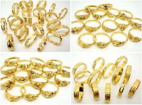 10pcs / lot 아름다운 고품질 비 페이딩 24K 진짜 금 도금 보석 반지를 섞어 무료 배송