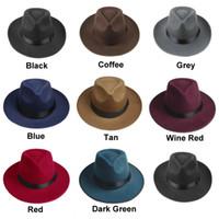 빈티지 남성 여성 하드 모자 챙이 넓은 페도라 트릴 파나마 모자 갱스터 모자 펠트
