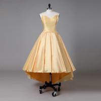 Einfaches gelbes Real Photo High Low Abschluss-Kleid-Schatz geraffte Satin-kurze vordere lange rückseitige preiswerte Abschlussball-Heimkehr-Kleid-Kleider
