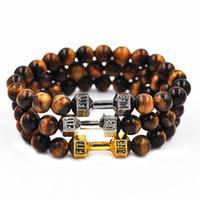 2019 mais novo ouro buddha haltere pulseira de olho de tigre de aço inoxidável para mulheres dos homens de pedra natural frisado pulseiras marca de jóias