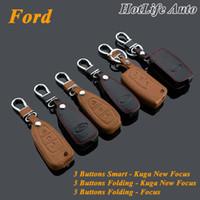 Fits couro genuíno da chave do carro Smart Case Key Fob Tampa Keychain para Cadeia Ford Kuga Foco Nova Foco Folding Car Key Rings Key