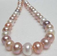 Heet verkoop 9-11mm zuidzee wit roze paarse parel ketting 18 inch 14k gouden sluiting
