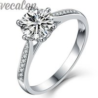 Vecalon fashion Jewelry wedding Band ring for women 1ct Simulated diamond Cz 925 Sterling Silver Female Engagement Finger ring