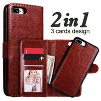 2 in 1 Magnetic Wallet Card Slot Photo Detachable Leather Co...