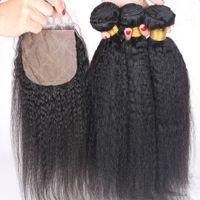 Cierre de encaje de pelo brasileño con paquetes de cabello Cabello rizado rizado Yaki grueso 3 paquetes con base de seda de cierre para mujer negra