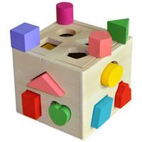 Малыш деревянный блок игрушки классический мульти форма куб цвет узнать подарок juguetes brinquedos многофункциональный коробка