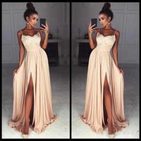 Элегантные шифоновые платья выпускного вечера длинные ремни спагетти кружева верхней стороны сплит сексуальное вечернее платье на заказ дешевые платье невесты