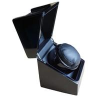 Zwart hout + lederen automatische klok horloge winder box uur batterij / EU / VS / Britse plug roteren beweging ratato box winder merk horloges accessoires