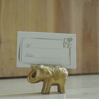 Hurtownie DHL DHL Wysyłka Lucky Golden Elephant Place Place Card Dekoracje Ślubne Przyspieszaj Uchwyt Karty Nazwa