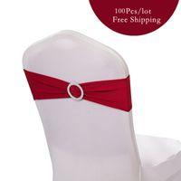 Vente chaude 100pc / lot Wedding Chair Band Bow Spandex Lycra Wedding Chair Couverture Ceinture Bandes avec Boucle Banquet Party de mariage décoration