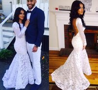 2016 New Sexy White Lace Mermaid Prom Dresses Black Girl Pro...